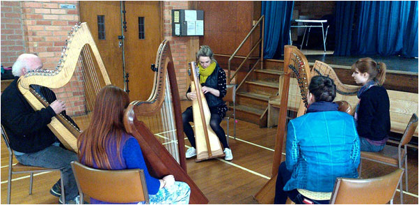 Group of celtic harp players